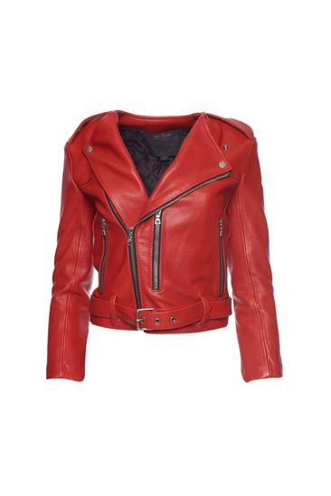 Cropped Leather Moto Jacket