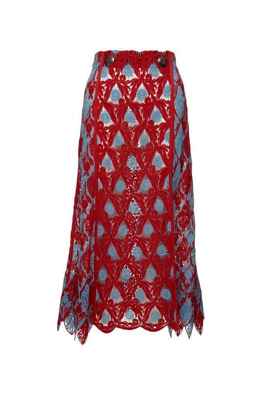 Medallion Guipure Skirt with Slit