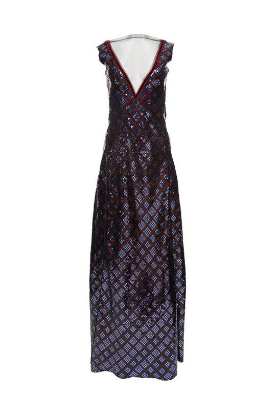 Plaid Sequin Sleeveless Gown