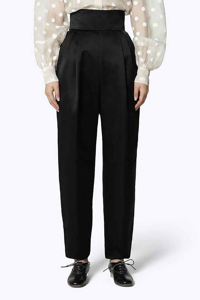 303b43180576f5 High-Waist Silk Satin Pants