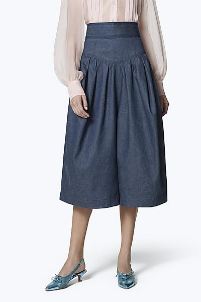 6fd6aa3740 High-Waist Denim Culotte Shorts ...