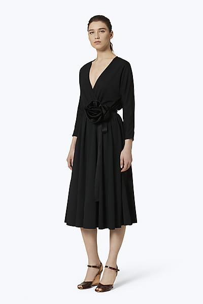 11548069904 V-Neck Rosette Dress ...