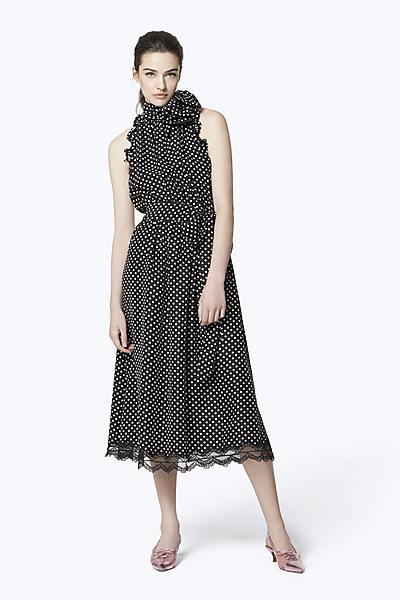 848b51dd61 Dot Silk Sleeveless Midi Dress ...