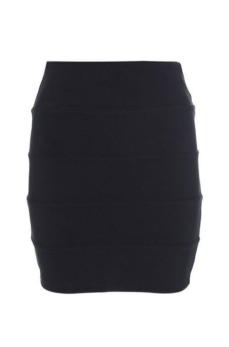 Black Ribbed Bodycon Skirt