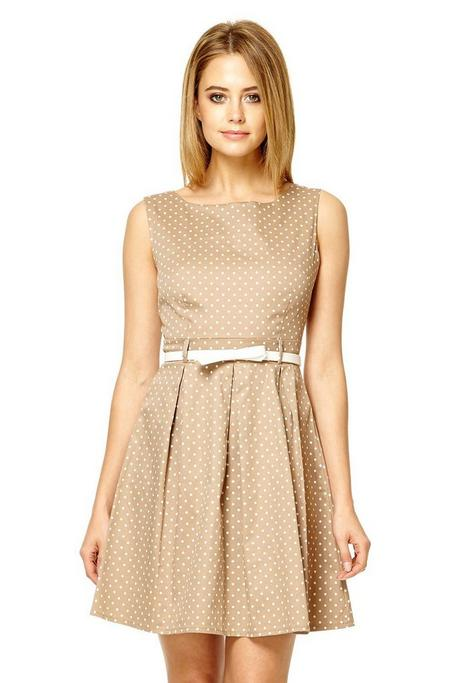 Mocha Polka Dot Pleat Dress