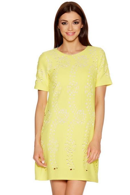 Yellow And Cream Laser Cut Tunic Dress