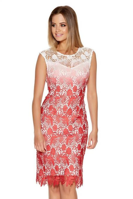 Coral And Cream Crochet Dip Dye Midi Dress