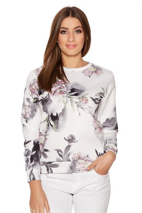 Cream And Grey Floral Long Sleeve Jumper