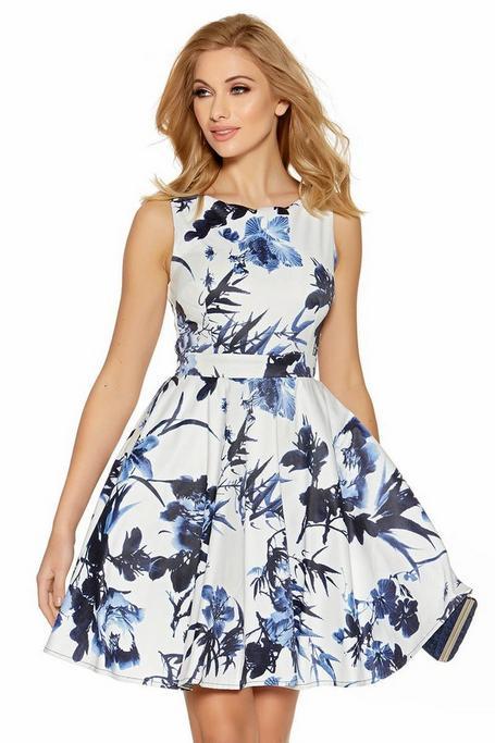 Cream And Blue Floral Print High Neck Dress