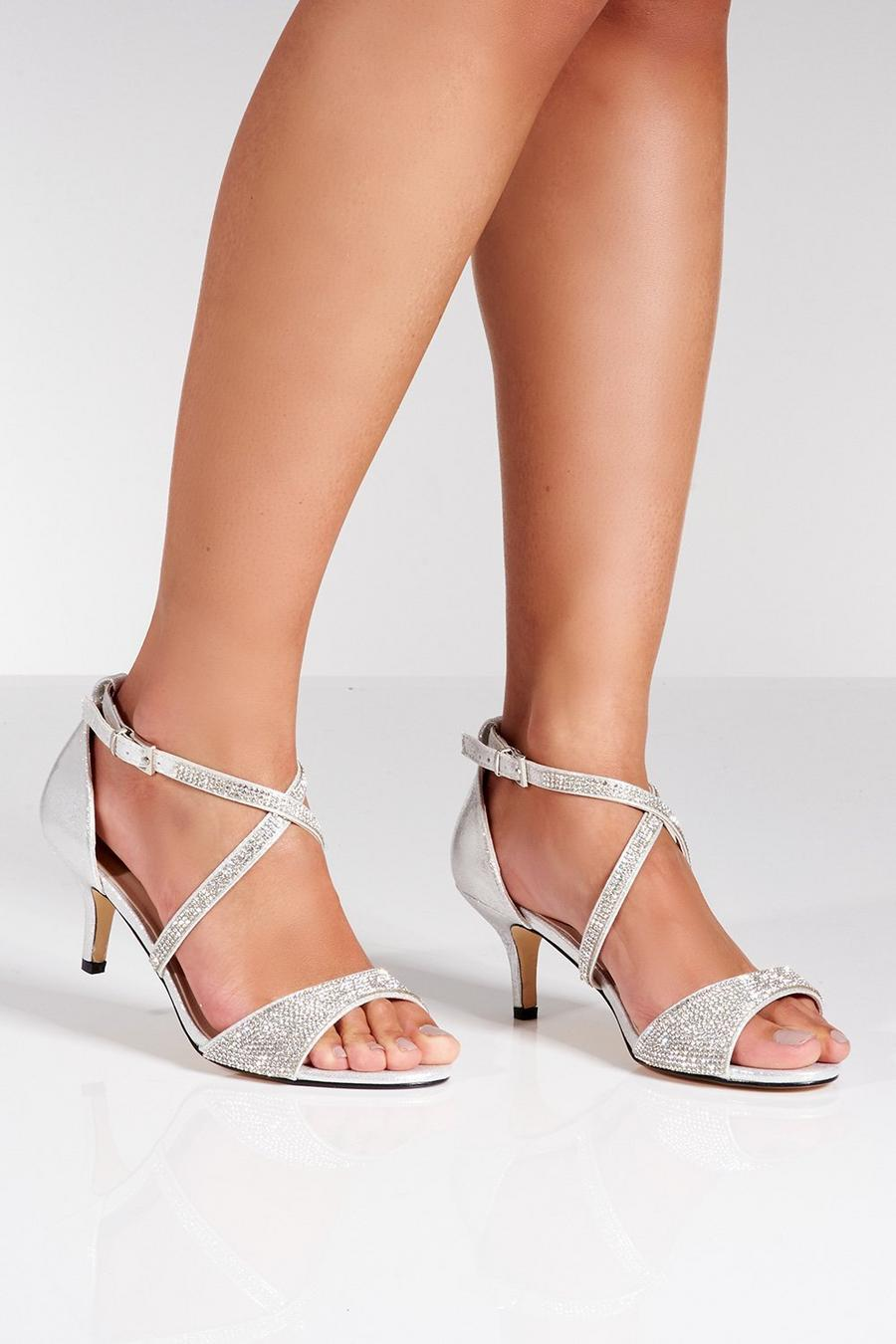 83420ab25a3 Silver Shimmer Diamante Low Heel Sandals