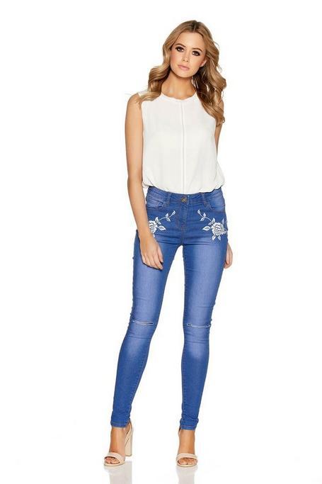 Light Blue Rose Embroidered Skinny Jeans