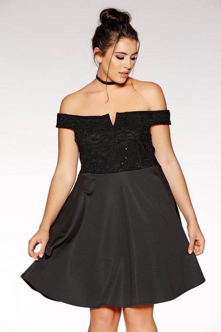 Plus Size Black Lace Bardot Skater Dress