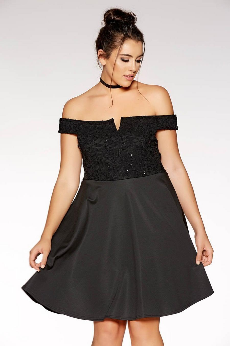 Plus Size Black Lace Bardot Skater Dress