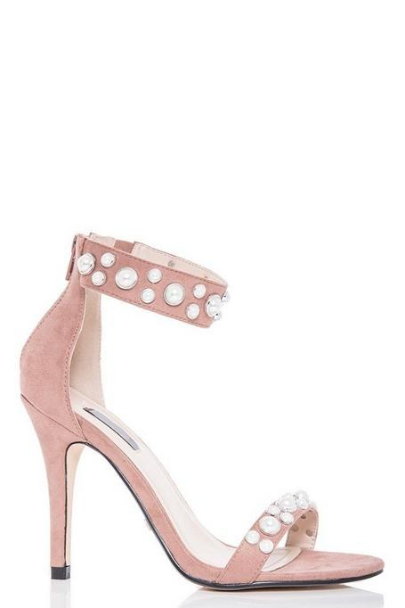 Nude Pearl Detail Barely There Heeled Sandals