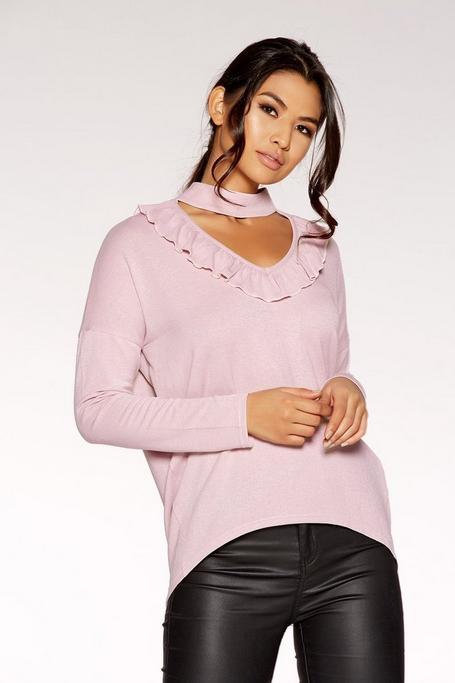 Dusk Pink Light Knit Choker Detail Top