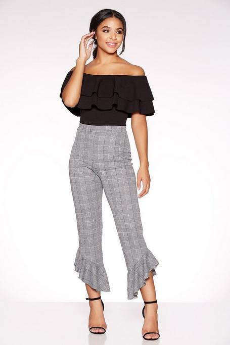 Grey Check Frill Hem Trousers