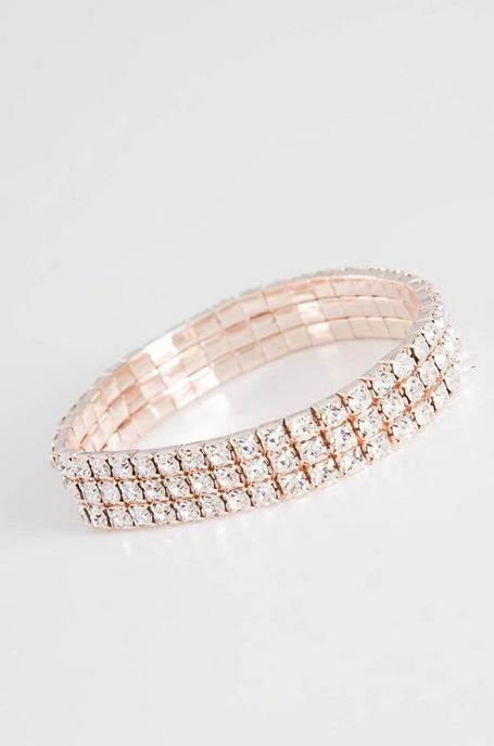 Rose Gold Diamante Stretch Bracelet