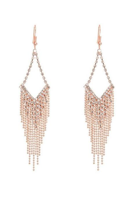 Rose Diamante Tassel Earrings