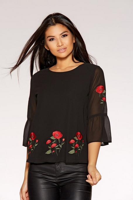 Black And Red Chiffon Rose Embroidered Top