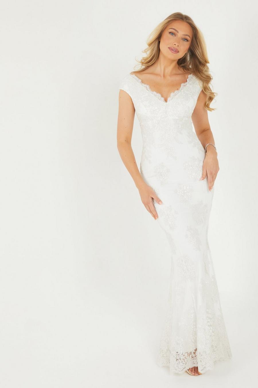 Wedding Dress Quiz.Clara White Lace Bardot Fishtail Bridal Dress