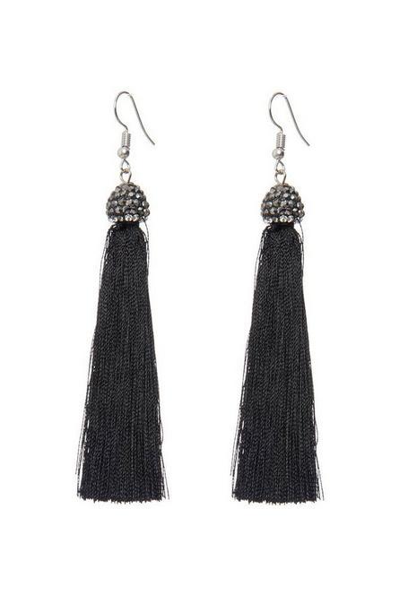 Black Facet Tassel Earrings