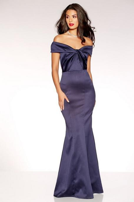 Navy Satin Off The Shoulder Knot Front Fishtail Maxi Dress