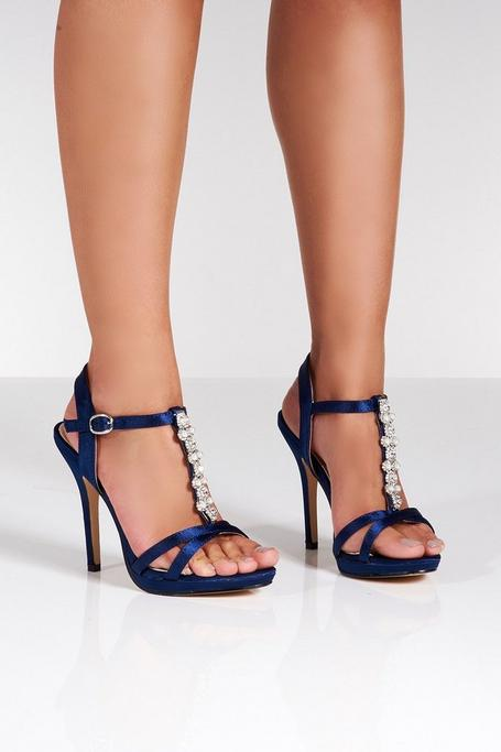 Navy Satin Pearl and Diamante Sandals