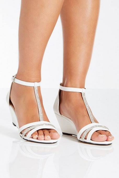 White Diamante Strap Low Heel Wedge
