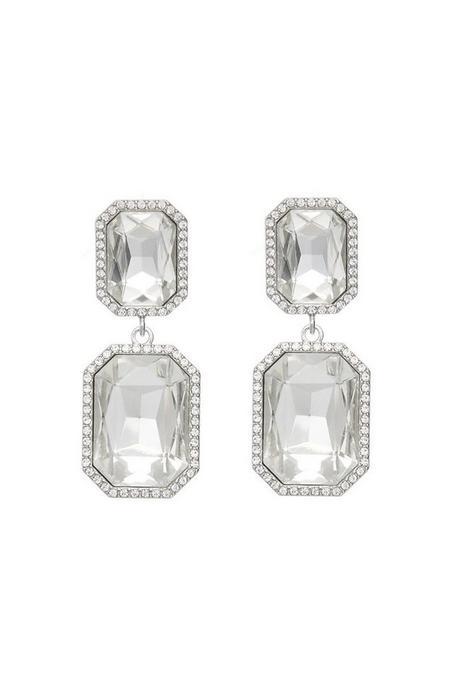 Silver Jewel Statement Earrings