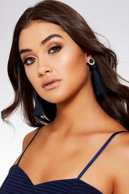 Navy Oval Jewel Tassel Earrings