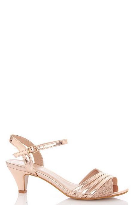 Rose Gold Metallic Strap Low Heel Sandal