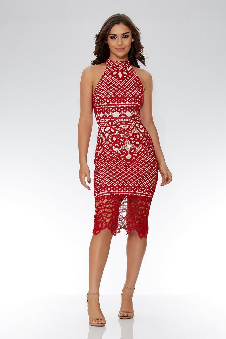 9485ba5318a Red And Nude Crochet Midi Dress