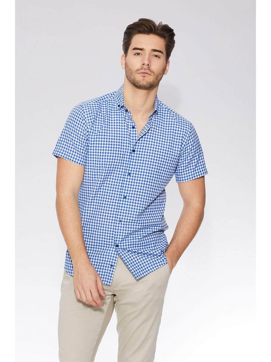 Dark Blue Gingham Short Sleeve Shirt
