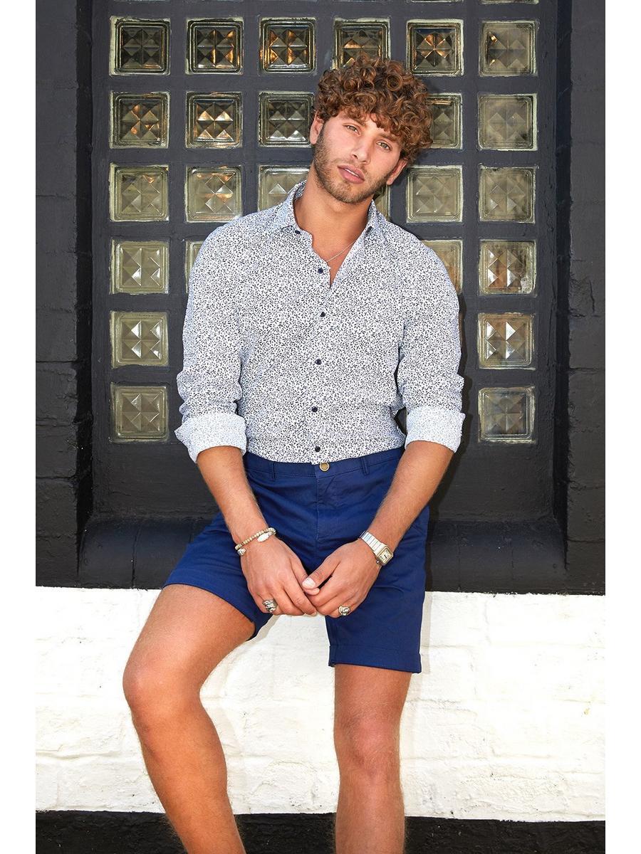 Blue Geometric Print Slim Fit Shirt