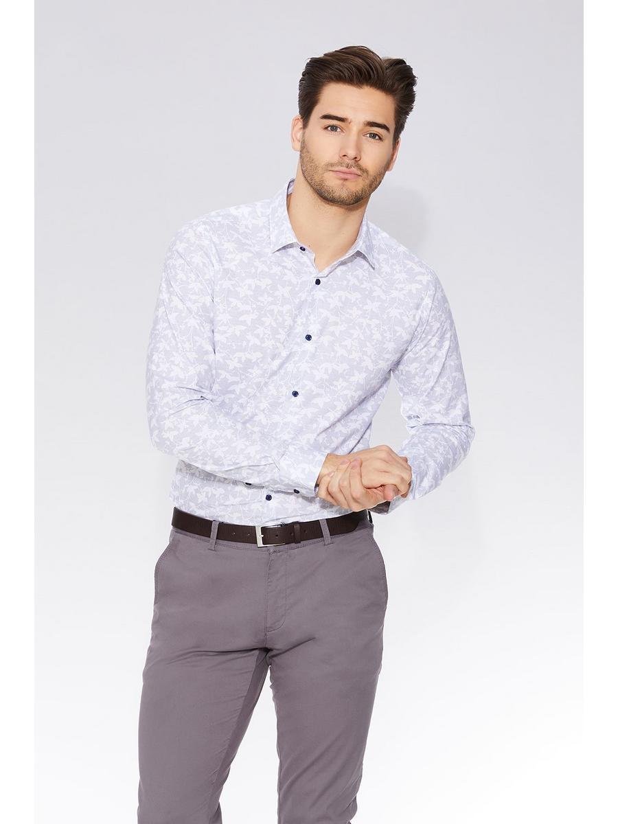 Blue & Grey Geometric Print Long Sleeve Shirt