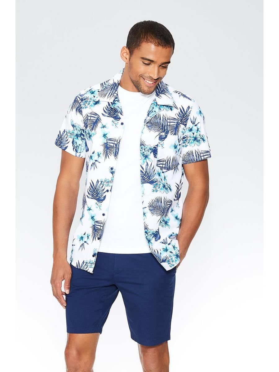White & Teal Hawaiian Print Slim Fit Shirt