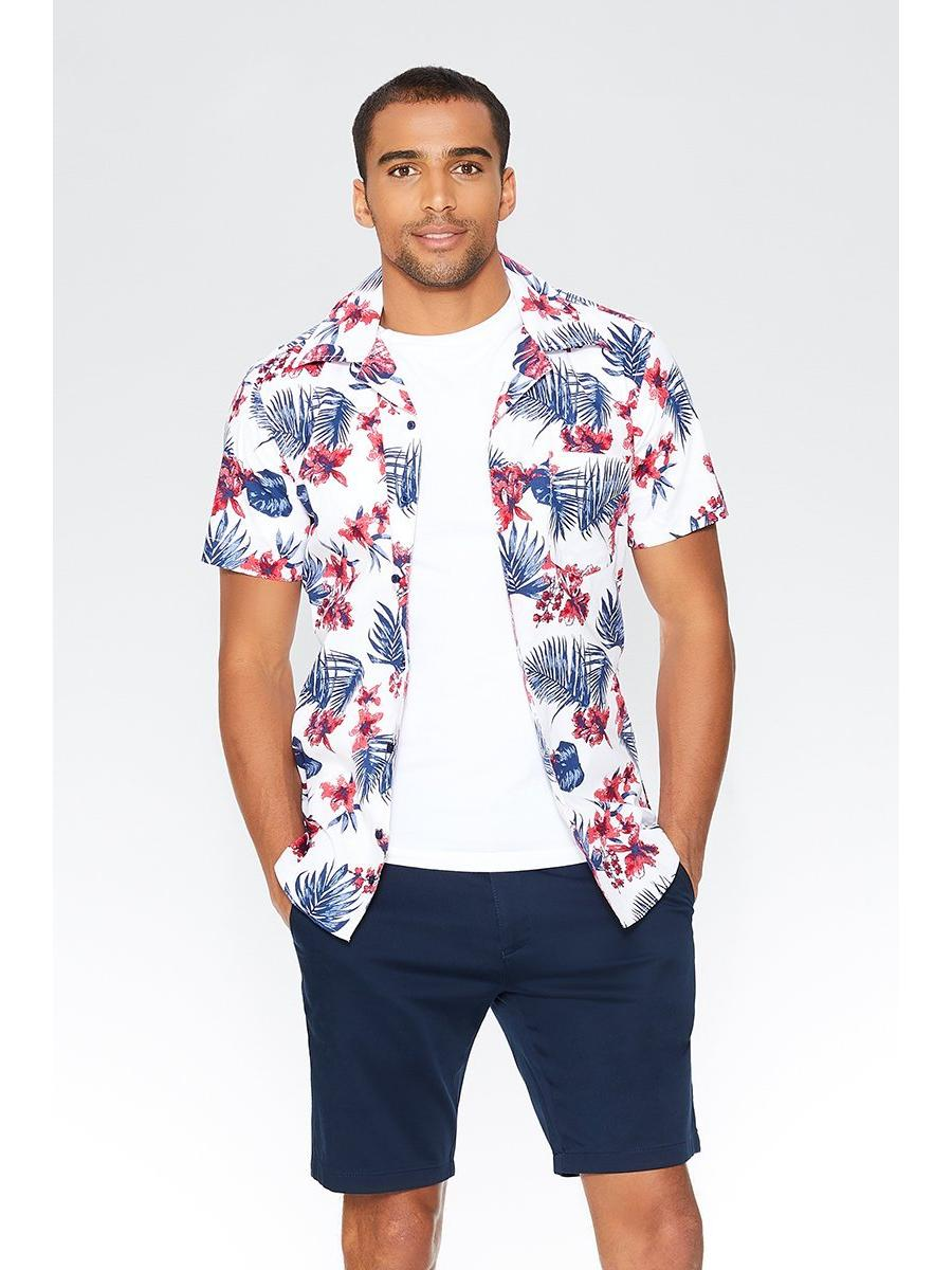 Alex's Navy & Red Hawaiian Print Slim Fit Shirt
