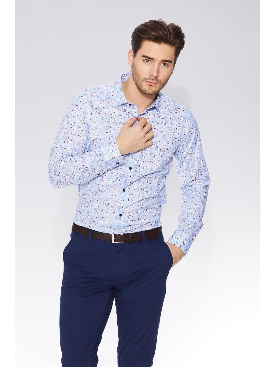 Blue Floral Print Long Sleeve Shirt
