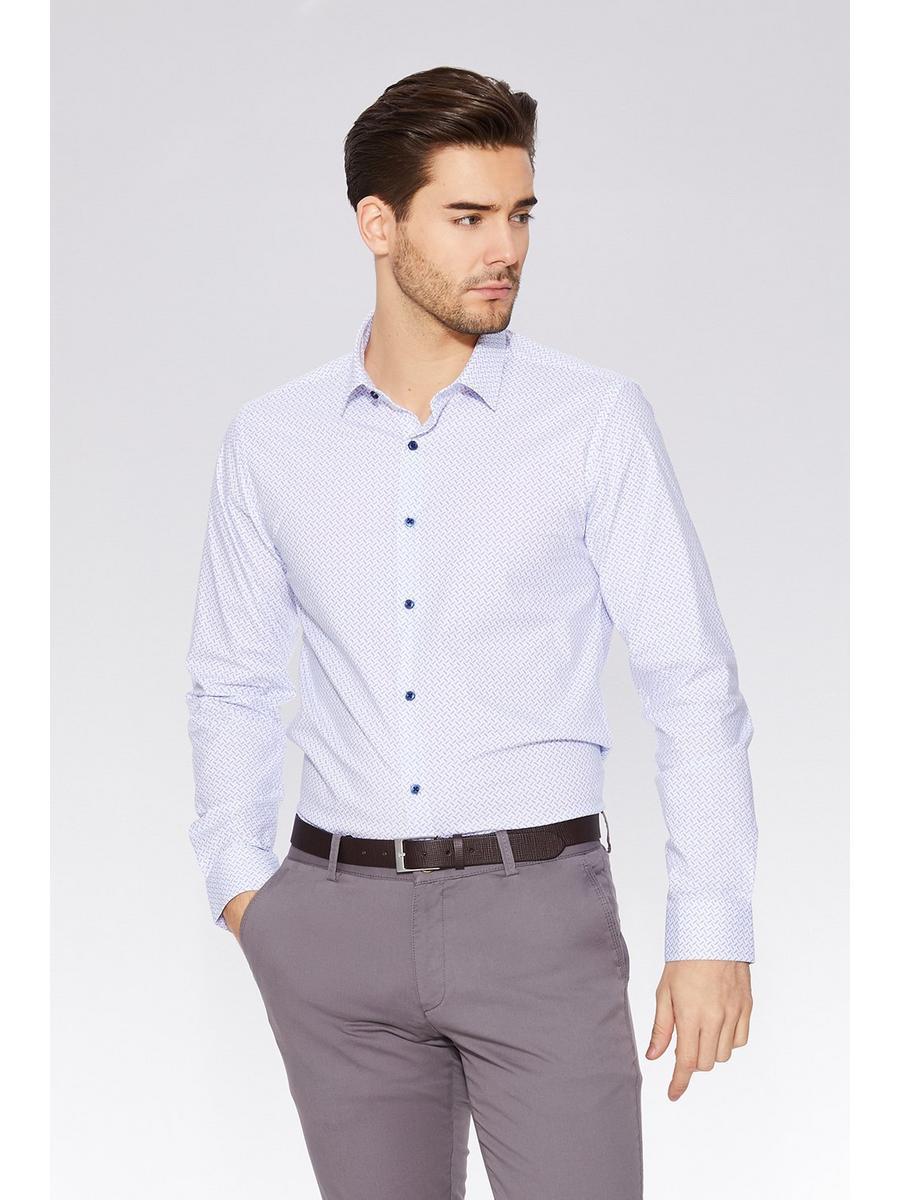 White Geometric Print Long Sleeve Shirt