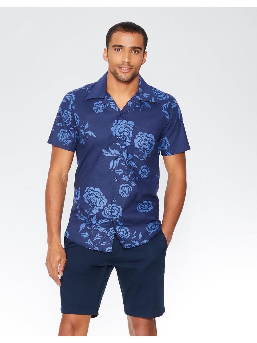 Navy Hawaiian Print Short Sleeve Shirt