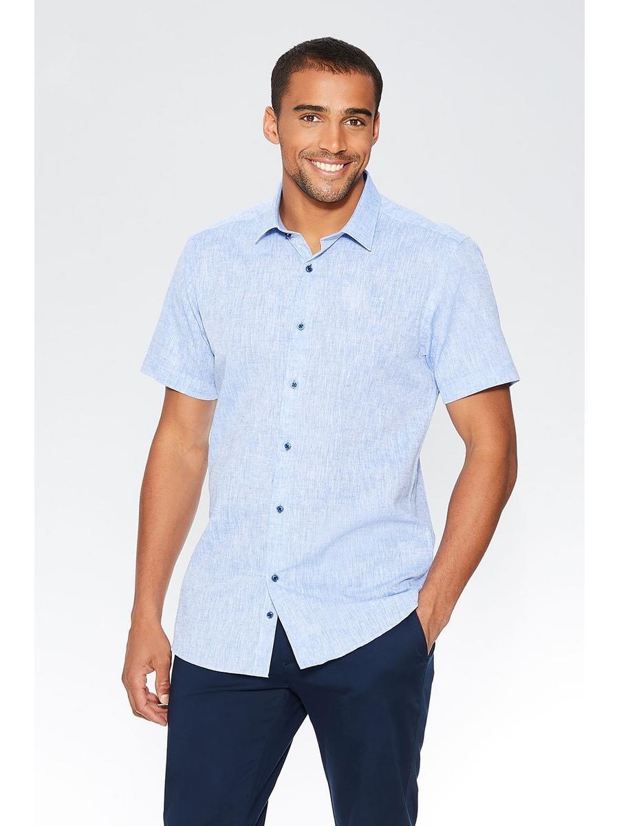 Blue Linen Short Sleeve Shirt