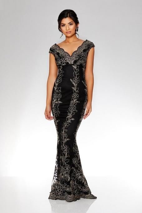 Black And Gold Embroidered Scallop Fishtail Maxi Dress