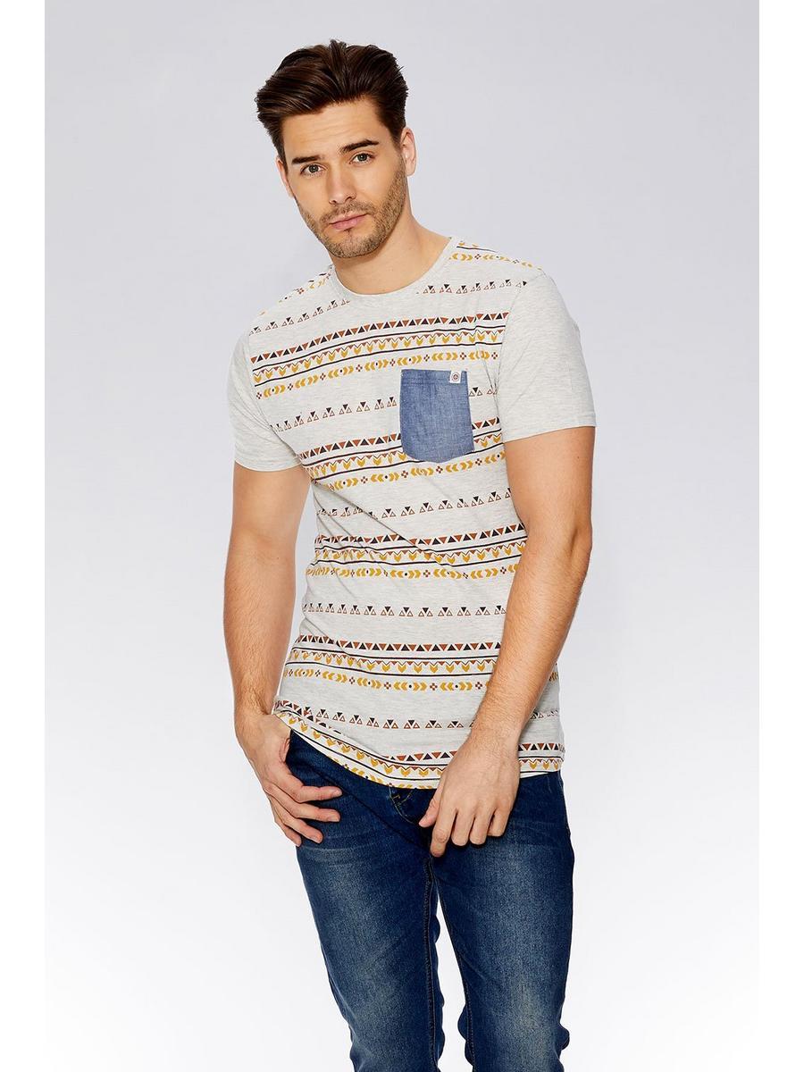Beige Aztec Print T-Shirt
