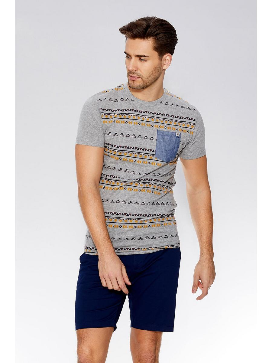 Grey Aztec Print T-Shirt