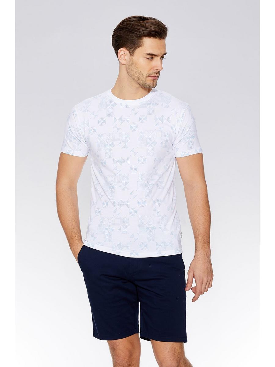 White & Blue Geometric Print T-Shirt