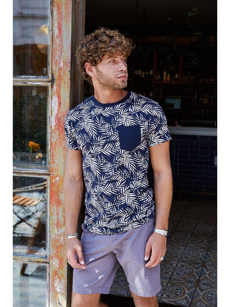 Black Palm Print Slim Fit T-Shirt