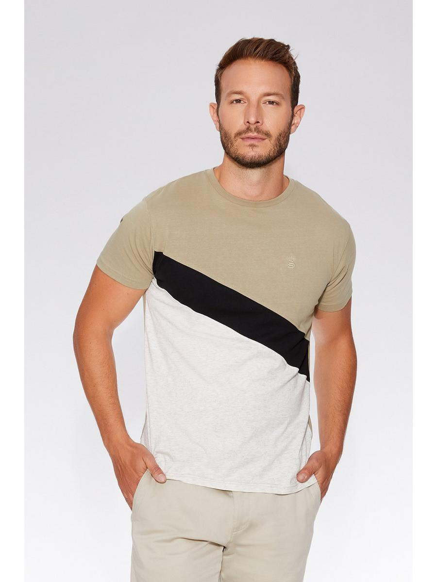 Ecru & Grey Stripe Slim Fit T-Shirt