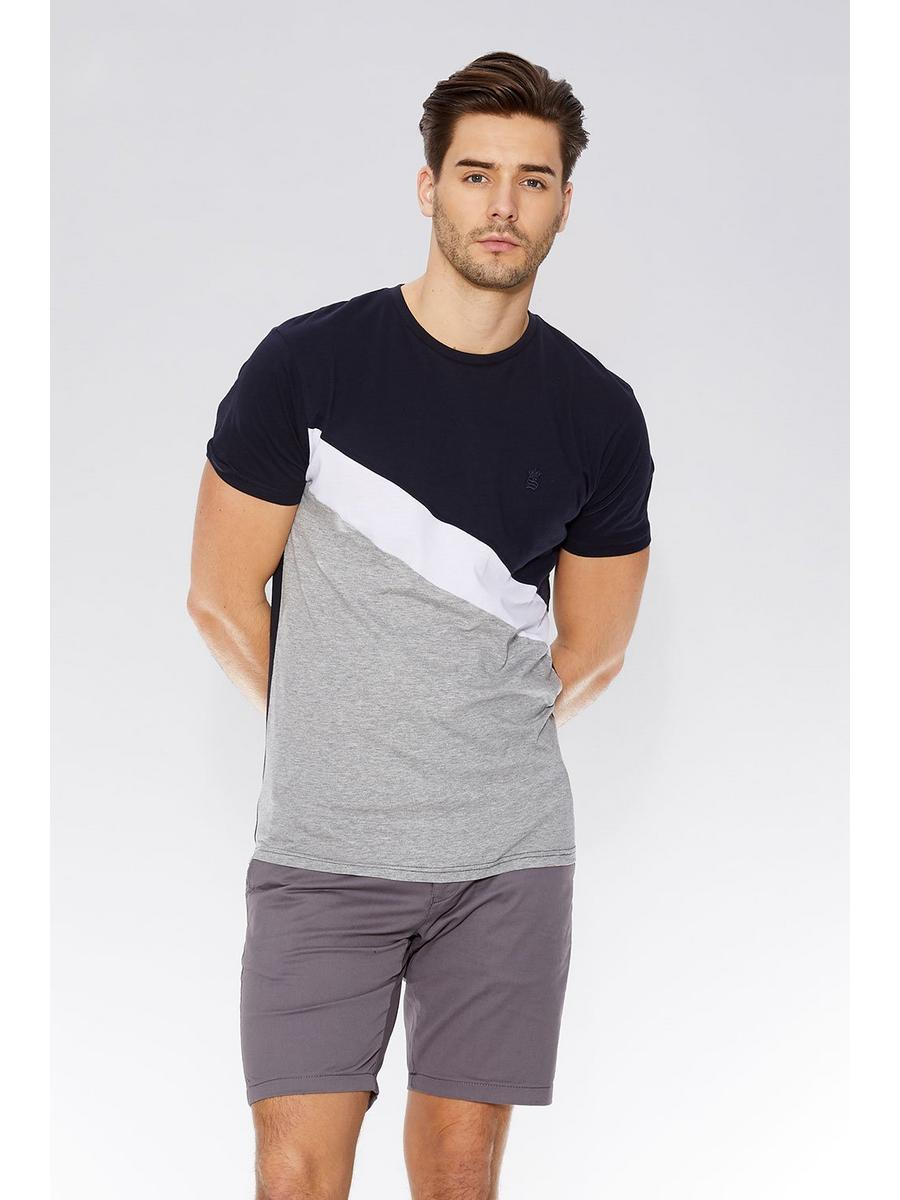 Navy & Grey Stripe Slim Fit T-Shirt