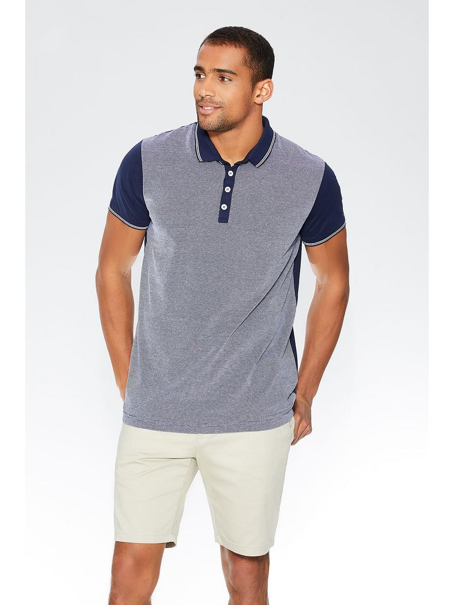 Navy Contrast Tipping Polo Shirt