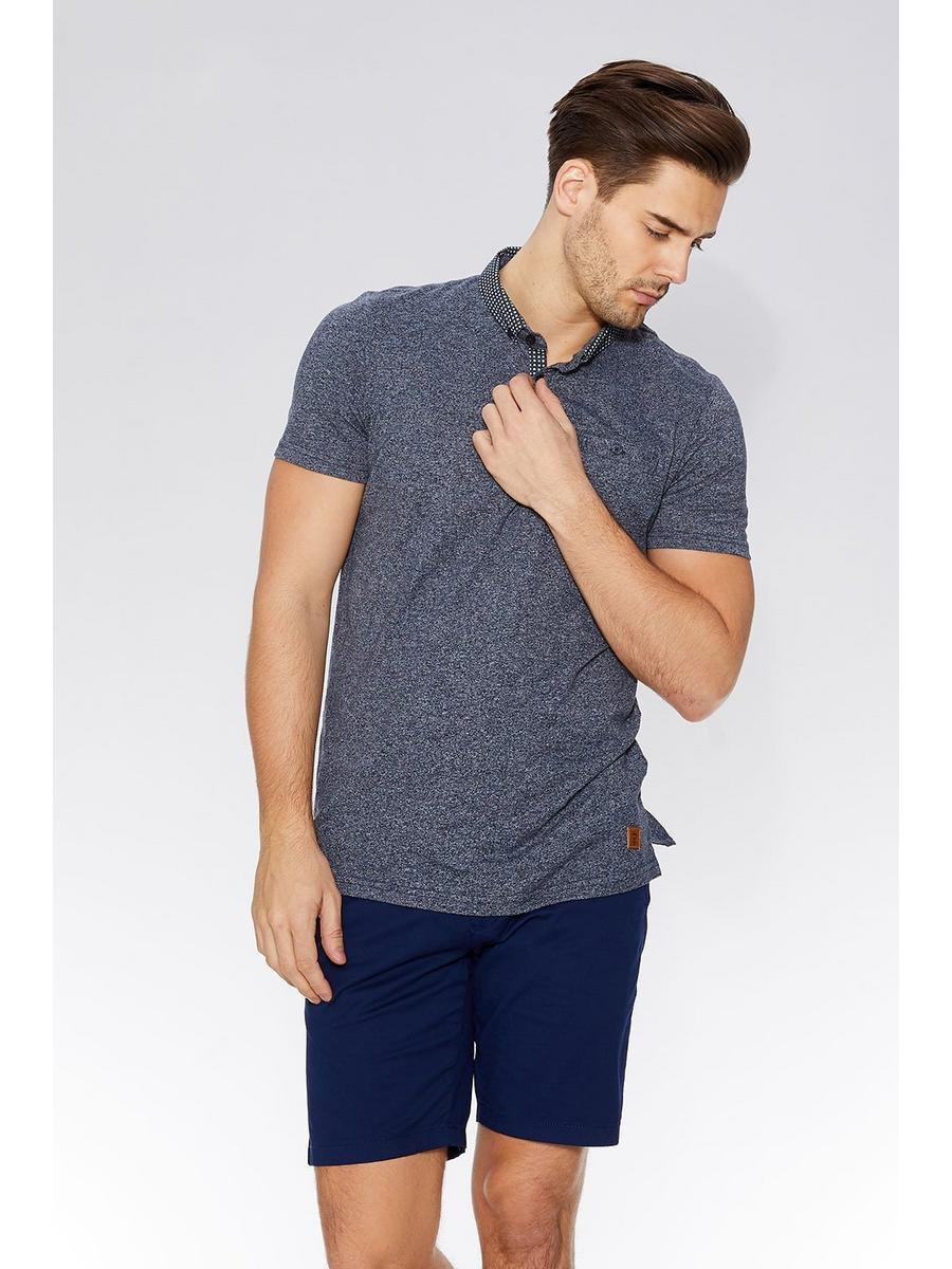 Navy Print Collar Polo Shirt
